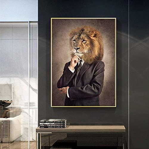 KWzEQ Nordische Retro Gentleman Leinwand Malerei Wand Ziege Zebra Tier Poster und Druck,Rahmenlose Malerei,30X45cm
