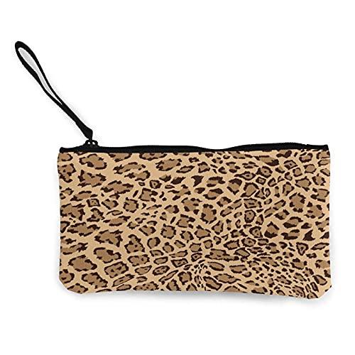 Bolso de lona con estampado de leopardo, monedero con estampado de animales, bolsa de cambio de lona para hacer compras y actividades al aire libre