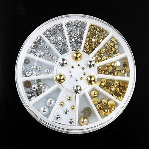 Bluelover 6 tamaños de plata oro metal redondo espárragos uñas arte decoración rueda