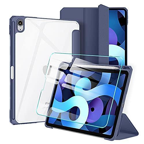 AROYI Funda y Protector de Pantalla Compatible con iPad Air 4 Generación 2020 10,9 Pulgadas Carcasa y Soporte Pencil, Soporte Función Auto-Sueño Estela Case PC Trasera Transparente, Azul Oscuro