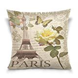 Funda de almohada decorativa cuadrada con diseño de flores de rosa vintage, Torre Eiffel de París, Francia, mariposa, sofá cama, funda de almohada de dos lados de 66 x 66 cm