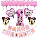 Decoraciones de cumpleaños de Minnie Mouse ZSWQ-Minnie Party Globos Bolas de Nido de Abeja de Minnie Globo de Rosado,Banner de Happy Birthday, Globos número para la Fiesta temática de Minnie Mouse