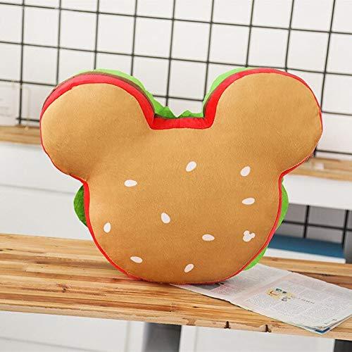 N / A Creative Mickey Hamburger Plush Toy Stuffed Soft Cute Cushion Burger Spoof Pillow Lovely Child Birthday Gift For Girlfriend 48cm