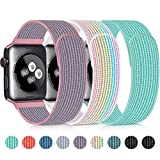 YUND Nylon Bands Compatible with Apple Watch 38mm 40mm 42mm 44mm Sport Breathable Replacement Strap for iWatch Series 5 4 3 2 1 (3Packs(Pink Sand+Marine Green+Rinbow), 42mm/44mm)