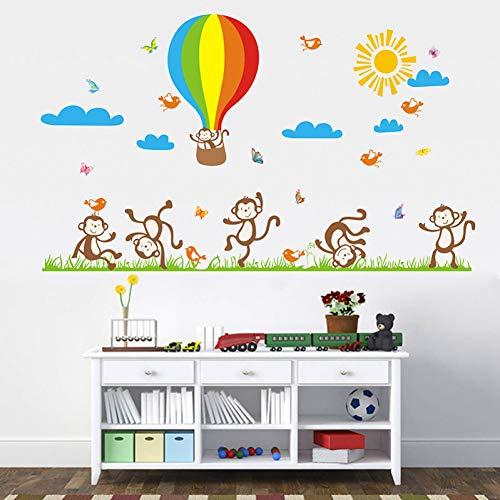 TAOYUE Cartoon Happy Monkey Hor Air Balloon Stickers Muraux Pour Chambre D'Enfants Salon Décoration De La Maison Sticker Mural Décor À La Maison Bébé Pépinière