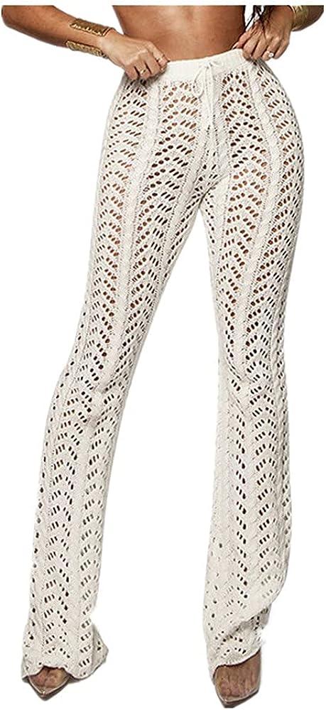 NP Stigende Women Summer Beach Knitted Hollow Out Pants See Through Mesh Crochet