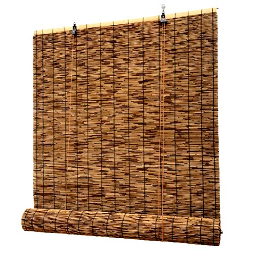 QL Persianas de bambú Persianas Filtros de luz Protector Solar Persianas enrollables, Persianas Nuevas para Interiores, Personalizables Opciones de Varios tamaños