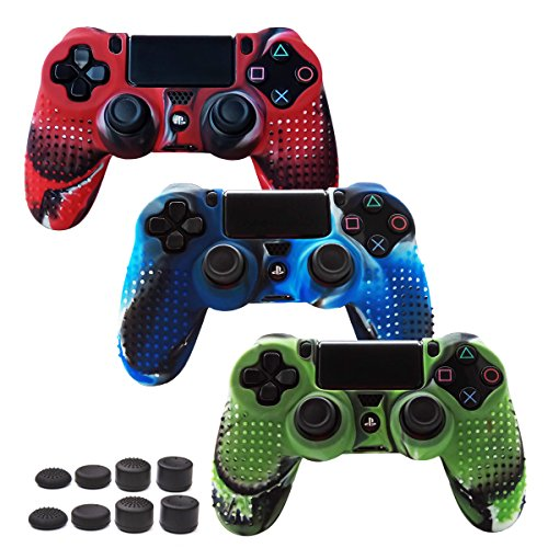Skin Compatible for PS4 Controller Grips Cover Pandaren Studded Anti-Slip Silicone Sleeve for PS4 /Slim/PRO Controller(Controller Skin x 3 + FPS PRO Thumb Grips x 8)(CamouRed,CamouBlue,CamouGreen)