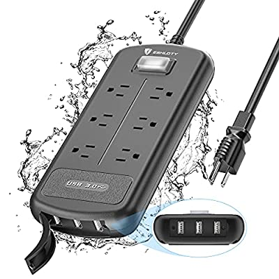 ESHLDTY USB Outdoor Power Strip Weatherproof, 6 Outlets and 3 USB Ports Surge Protector with 1500Joules 1875W IPX6 Waterproof, 6ft Heavy Duty Extension Cord, Wall Mountable for Home Office Porch Patio