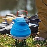 LOUTY Blau 1.2L Portable Silikon zusammenklappbaren Wasserkocher für Tee Kaffee Outdoor Camping...