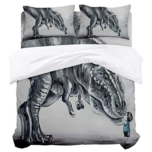 Microfiber Duvet Cover Sets with Zipper Closure & Corner Ties, Hand Painted Lovely Boy Touching Dinosaur in The Forest Soft and Breathable Bedding Set, Flat Sheet and Pillowcases - 4 Pieces Twin Size