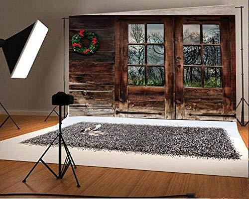 Laeacco 10x6.5ft Vinyl Backdrop Rustic Wood Cabin with Christmas Wreath Decoration Photography Background Old Wooden House Shabby Window Door Walls Background Adult Children Baby Photo Studio