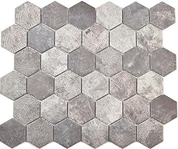 Piastrelle A Mosaico Esagonali Cemento Grigio Scuro Parete Posteriore Della Cucina Rivestimento Per Vasca Da Bagno Piatto Doccia Mosaico Amazon It Fai Da Te