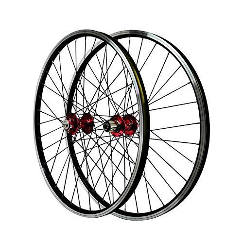 Ruote Bici MTB 26 Pollici V Brake Ciclismo Doppio Muro Alluminio Freno Ibrido/a Disco 32 Fori per volano a 11 velocità (Colore : Rosso, Size : 26inch)