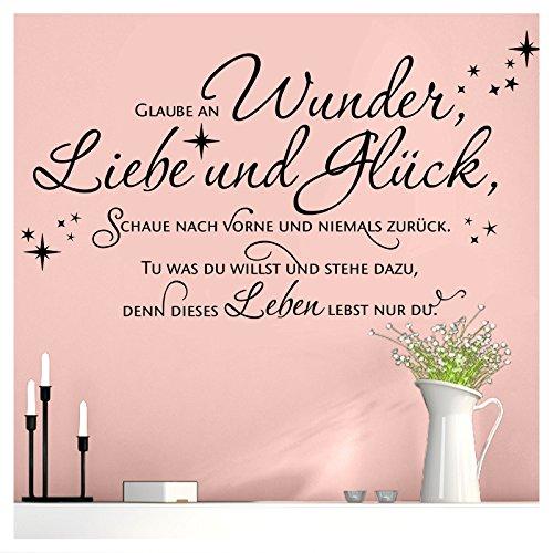Grandora W5444 Wandtattoo Wandsticker Zitat Spruch Glaube an Wunder Liebe und Glück Flur Wohnzimmer Schlafzimmer schwarz (BxH) 100 x 39 cm