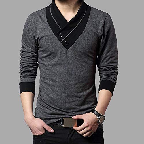CLZC Trend Slim Fit T-shirt met lange mouwen Mannen Patchwork Kraag T-stuk V-hals Mannen T-shirt Katoen T-shirts Plus Maat 4XL