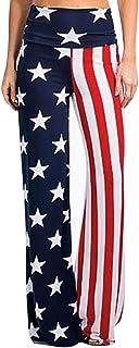 CapsA Palazzo Pants for Women Yoga Pants American Flag July of 4th High Rise Wide Leg Pants Leggings Loose Trousers