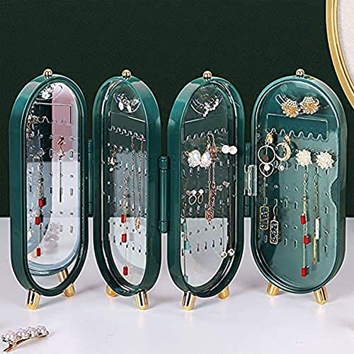 i-Found Caja de almacenamiento para pendientes, collares, pendientes, anillos, caja de almacenamiento plegable para collares, expositores, organizador de joyas para pendientes con espejo (verde)
