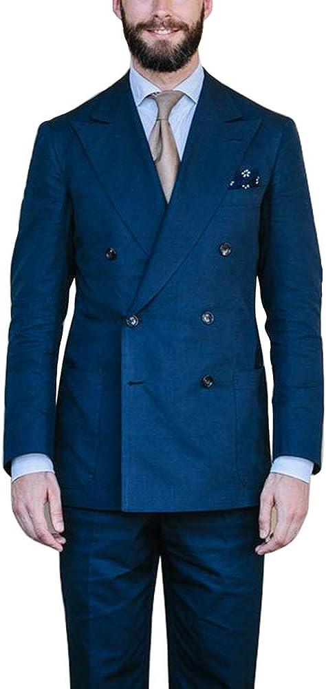 Newdeve Men's Suits Regular Fit Casual Blue Double Breast 2 Pieces Fashion Retro Vintage Set