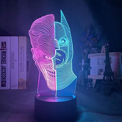 Lámpara De Ilusión Marvel Batman Y Joker Face Hit Color 3D Lámpara Para Niños Decoración De Dormitorio Luz Led Sensor Táctil Acrílico Luz De Noche-Una_7 Colores Sin Control Remoto