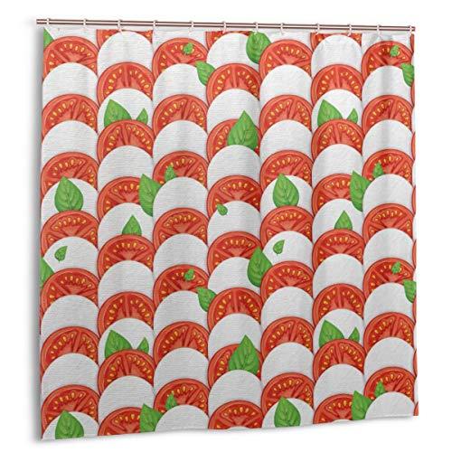 Throwpillow Duschvorhang,Realistische Zutaten für Pizza Mozzarella Käse Tomaten & Basilikumblätter,wasserdicht hochwertige Qualität Duschvorhänge inkl 12 Ringe