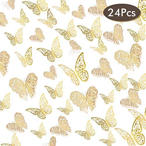 NATEE 24pcs Pegatinas Decorativas de Pared, Decoración de Mariposa de Pared, Pegatinas 3D de Pared, Decoración de Pared Creativa Sujeción Perfecta Súper Vivo 12 10 8CM Dorada Todo Tipo de Pared