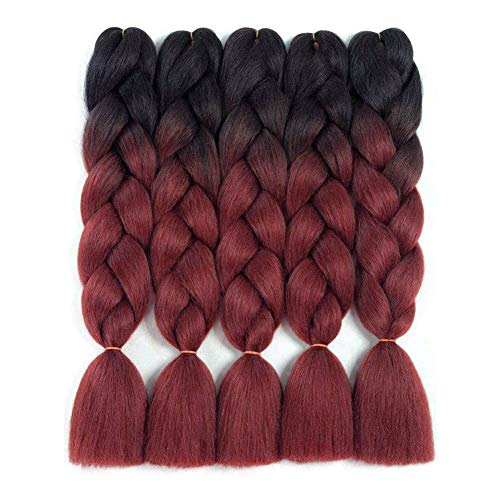 Ombre Kanekalon Braiding Hair 5 Pack Ombre Jumbo Braiding Hair Extensions 24 Inch Jumbo Braid Synthetic Hair for Braiding (5 pack, Black-Burgundy)
