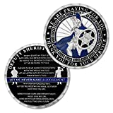 Sheriff's Prayer Challenge Coin Police Officer Thin Blue Line Spartan Coin