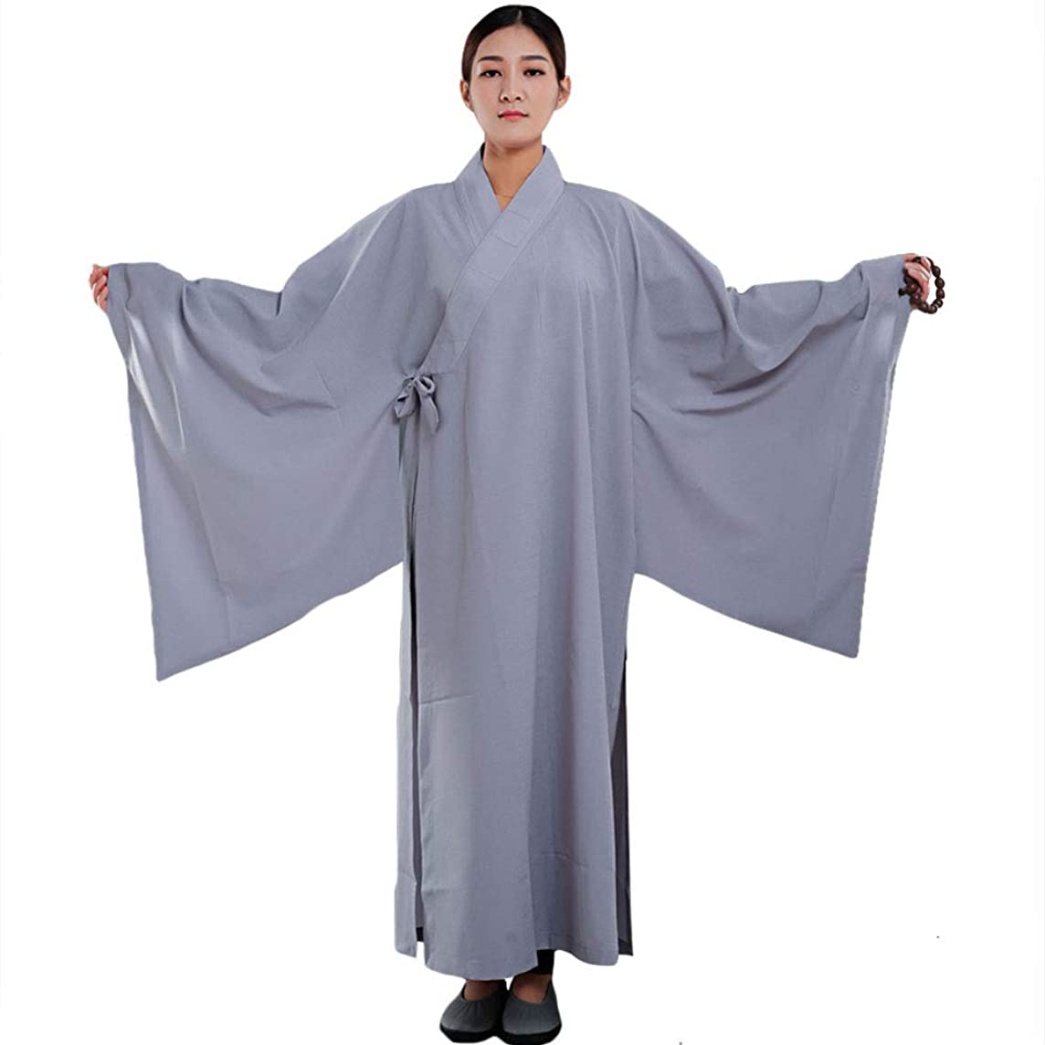 ZooBoo Shaolin Unisex Monk Kung fu Robe Costume Long Gown Suit