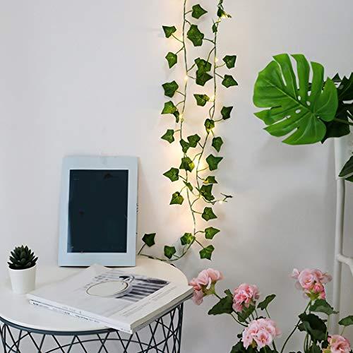 Lailongp 2 m 20 LED Plantas artificiales Light Maple Leaf Green Vine para boda casa