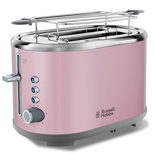 Russell Hobbs Toaster Bubble rosa, 2 extra breite Toastschlitze, inkl. Brötchenaufsatz, 6 einstellbare Bräunungsstufen + Auftau- & Aufwärmfunktion, Schnell-Toast-Technologie, 930W, Retro 25081-56