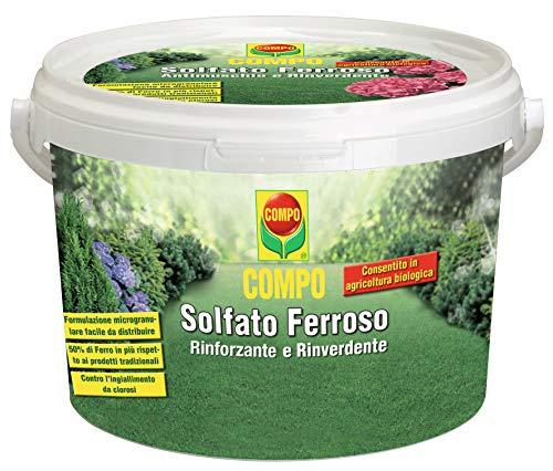 COMPO Solfato Ferroso, Concime a base di Ferro, Azione rinforzante e rinverdente, Consentito in agricoltura biologica, 5 kg