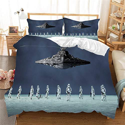 BLSM Star Wars - Juego de cama 3D para salón con funda nórdica y funda de almohada (B08,135 x 200 cm)