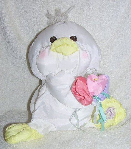 Puffalumps Vintage 1988 9' White Easter Duck Holding Flowers