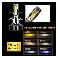 Xhua Store ミニサイズ車のヘッドライトH4 H7 LED 3000K 4300K 5000K 6500K 8000K 25000K H1 H8 H9 H11 9005 9006 LED電球オートフォグライト12V (Emitting Color : 3000K, Socket Type : 9006)