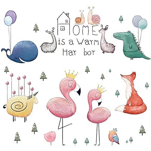 Eco Friendly Cartoon Animales Flamingo Pared Pegatinas Dormitorio Sala de Niños Decoración de Vinilo Extraíble Pared Pegatinas Arte Murales
