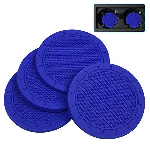 Car Coasters, Wisdompro 4 Pack PVC Car Cup Holder Insert Coaster - Anti Slip Universal VehicleInterior Accessories Cup Mats for Women(2.75' Diameter, Blue)