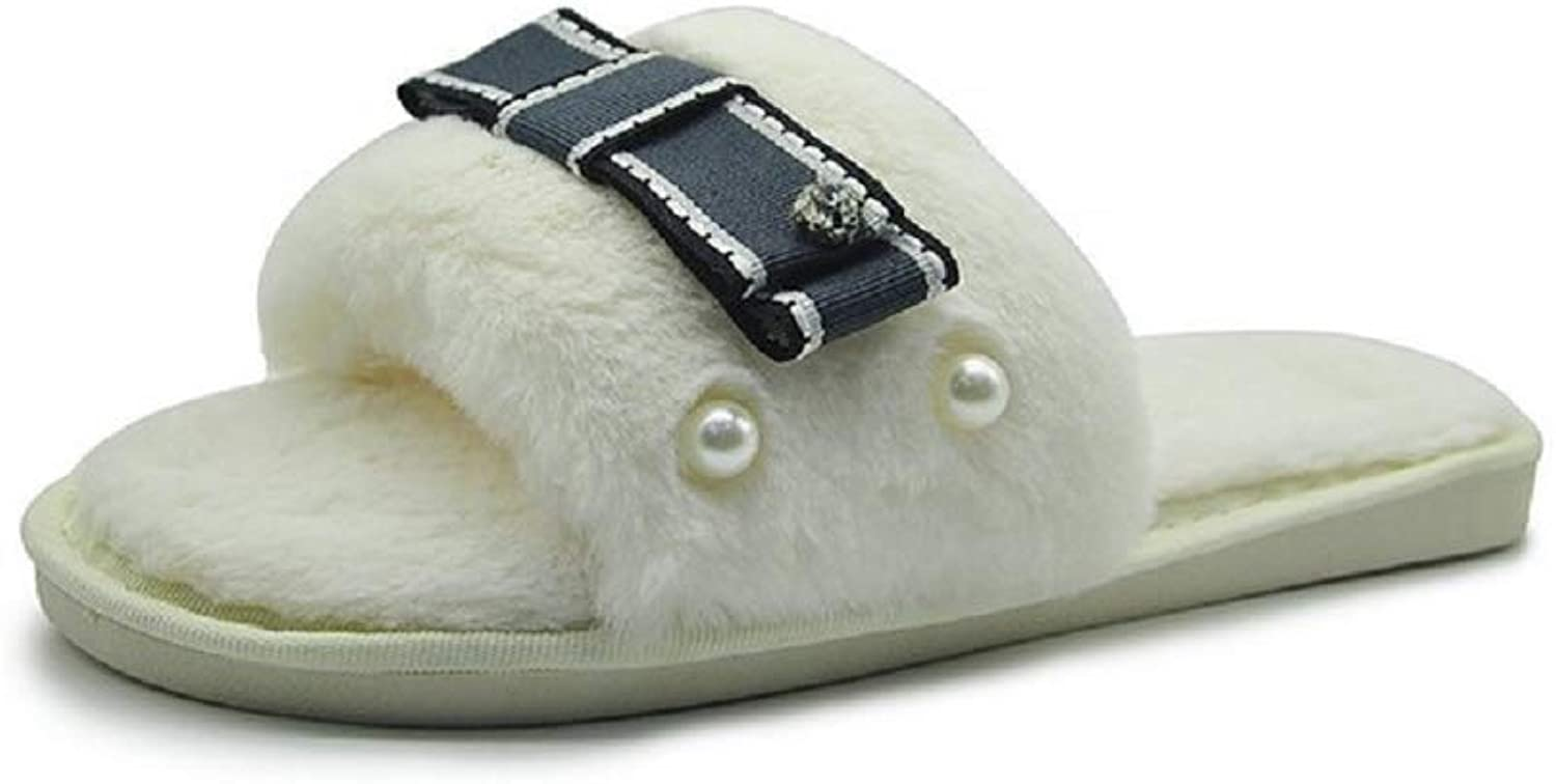 Beaded Slippers Women Fluffy Peep Toe Bowknot shoes (color   White, Size   CA9 10)