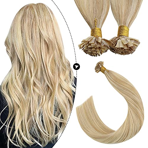 Ugeat Flat Tip Hair Extensions Remy Hair 20inch Real Human Hair Pre Bonded Hot Fusion Hair Extensions Caramel Blonde...
