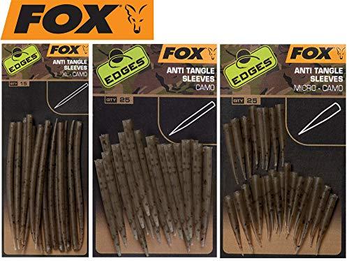 FOX Edges Camo Anti Tangle Sleeves - Tubes für Karpfenmontagen, Antitangle Schlauch für Karpfenrigs, Silikontube, Größe/Packungsinhalt:Gr. XL / 15 Stück