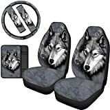 FOR U DESIGNS Gray Wolf Design Automobile Front Seat Covers with Seat Belt Covers, Car 15 Inch Steering Wheel Cover, Armrest Pad Protector Set of 6 Pcs Gift