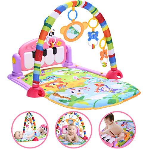 HIUME Baby Spielmatte, Klavier Matte Treten und Spielen, Aktivitätsmatten für Kleinkinder mit Melodie, Lernspielzeug für 0-6-12-18Monat + Jungen und Mädchen (Rosa-Standard-Verpackung)