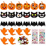 Halloween Crafts Kit for Kids, Foam DIY Pumpkin Decorating with 32 Sets Expression Stickers, 24 Foam Broad and...