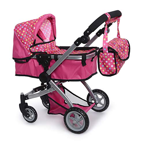 fash n kolor Foldable Pram for Baby Doll with Polka Dots Design with Swiveling Wheel Adjustable Handle Massachusetts