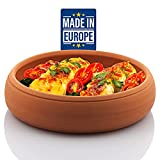Crystalia Clay Pot for Cooking, Handmade Terracotta Cookware, Unglazed Serving Cazuela Pan for Mexican Indian Korean Dishes, Large Earthenware Bowl, Handcrafted Turkish Mud Pottery for Food, Oven Safe