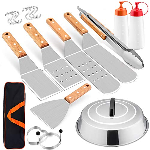 HaSteeL Griddle Accessories Set of 12, Professional Stainless Steel Metal Spatula Tools with 12in Cheese Melting Dome, Heavy Duty Griddle Spatulas Great for Teppanyaki Flat Top Cooking Outdoor Indoor