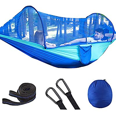 U/N Camping Hammock with Wide Lay Flat and Mosquito Net, Safe and Cozy, Durable Parachute Nylon Hanging Tent with Tree Straps, Portable Hammock for Outdoor, Indoor, Blue/Green
