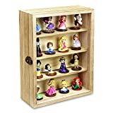 Ikee Design Wall Mounted Collectible Display Shelves Case Shadow Box with a Lock and Key for Displaying Your Valuable and Collection, 12 1/4' W x 5 3/8' D x 16 1/8' H