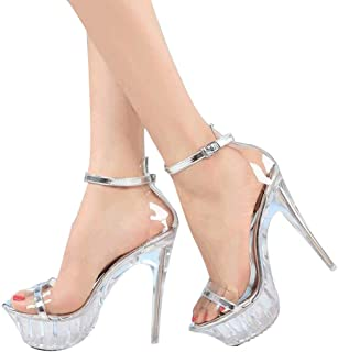 Women's Open Toe High Heels,Ladies Platform Clear Sandals Stiletto Heel Evening Shoes