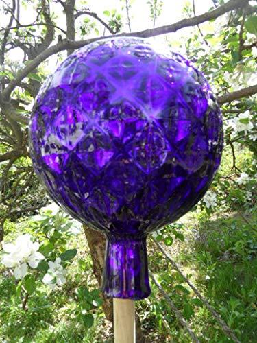 Arbrikadrex Spitzkugel FARBECHTES Glas handgefertigt Tropfenkugen Gartenkugel verspiegelt XXL Form Rosenkugel (Kugel Rautendesign, Dunkelblau)
